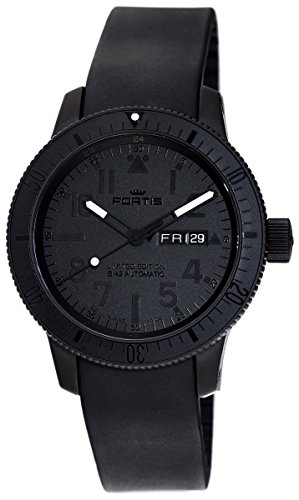 Limited Edition Fortis Cosmonautis Pitch Black B-42 Automatic Titanium Mens Watch 647.28.81.K