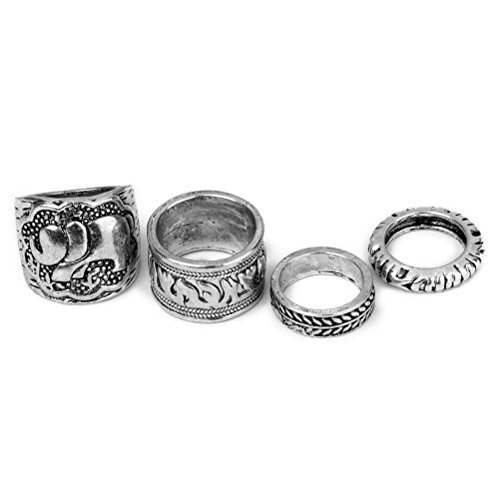 Tinksky 4pcs Vintage Rings Joint Ring Set with Carving Pattern by TINKSKY