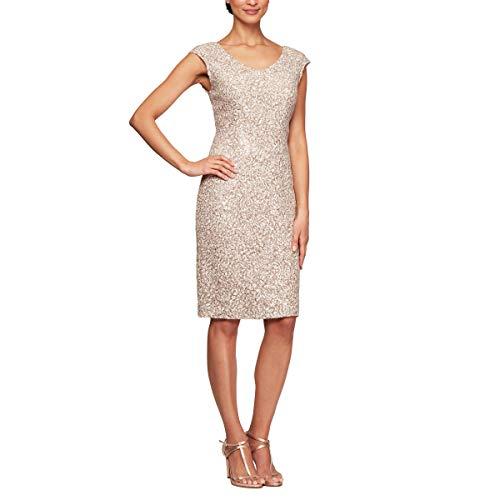 Alex Evenings Women's Shift Midi Lace Embroidered Dress (Petite and Regular), Champagne Ivory, 10 (Civ 5 Best Civ)