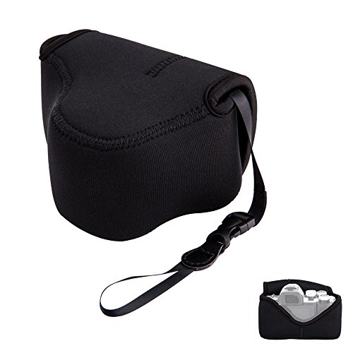 Mirrorless Camera Pouch Case JJC Ultra-Light Camera Bag for Fujifilm X-T20 X-T10 X-T100 X-A5 X-A3 X-A2 X-A1 X-E3 Olympus E-M10II E-PL9 E-PL8 SP-620UZ SP-810UZ SP-820UZ with lens up to 5x3.3x3.3''Black by JJC