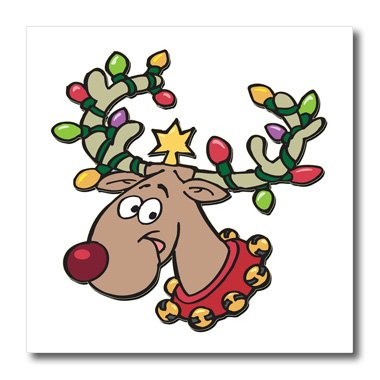 - 3dRose ht_160535_3 Reindeer with Holiday Lighted Antlers-Iron on Heat Transfer Paper for White Material, 10 by 10-Inch