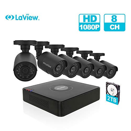 LaView 8 Channel Full HD 1080P Business and Home Security Camera System 6X Weatherproof Bullet Cameras with 8CH DVR w/ 2TB HDD 2MP Night Vision CCTV Surveillance Kit