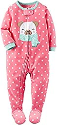 Carter\'s Girl\'s 3T Pink Dot Winter Pug Puppy Dog Fleece Footed Pajama Sleeper