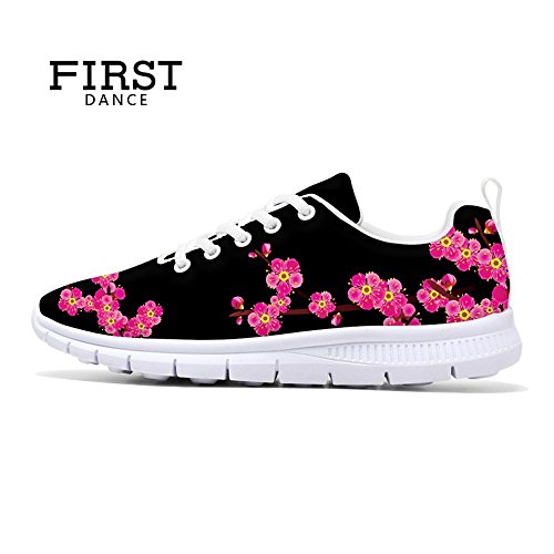 FIRST DANCE 2017 Fashion Flower Design Womens Running Shoes Lightweight Walking Sneakers Floral 4 artEGYtHWX