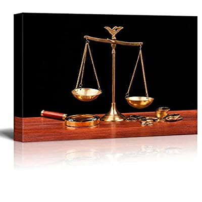 Unbelievable Piece of Art, Still Life Money and Balance Scale Justice Concept Wall Decor, Classic Artwork