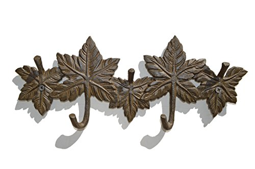 (gasare, Key Holders, Cast Iron Wall Hooks, Decorative Rustic Leaves Design, 5 Hangers, 11 ½ x 5 ¼, Cast Iron, Brown, Screws and Anchors, 1 Unit)