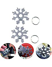 18-in-1 Stainless Steel Snowflake Multi-Tool, Outdoor Wrench Tools, Keychain Combination Tools for Military Enthusiasts, Christmas Gift,2Pack,Silver