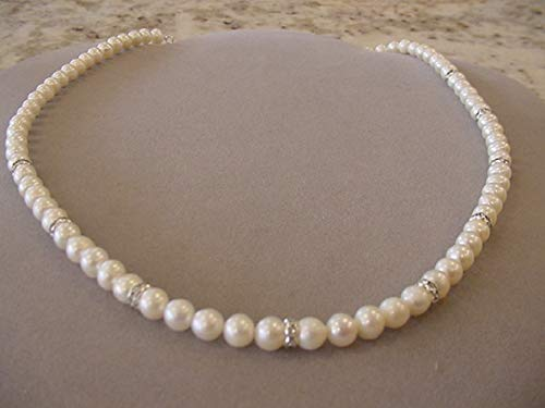 (Freshwater Pearl Necklace with Crystal Rondelles Ajustable pearl necklace inch with 2 1/2 inch extender Freshwater pearl jewelry)