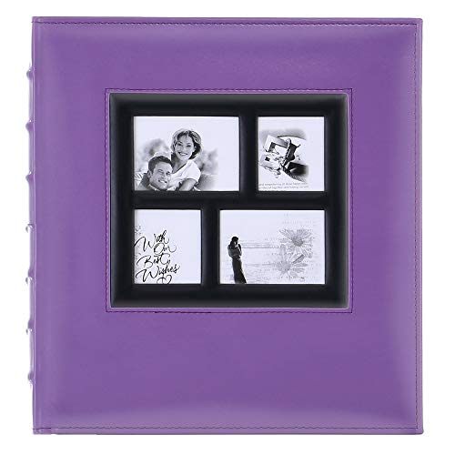 Artmag Photo Picutre Album 4x6 500 Photos, Extra Large Capacity Leather Cover Wedding Family Photo Albums Holds 500 Horizontal and Vertical 4x6 Photos with Black Pages (Purple)