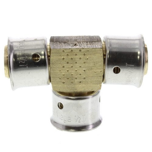 Zero Lead Bronze 1/2 inch PEX Press Tee with Attached Sleeve
