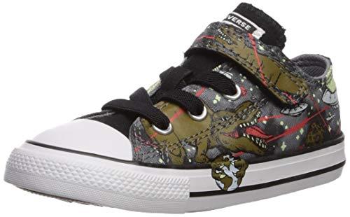 Converse Girls' Chuck Taylor All Star 1V Interstellar Dino's Sneaker, Cool Grey/Olive Flak/Black, 10 M US Toddler ()