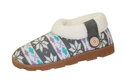 Dames Slippers Sherpa Antislip Koude Weer Gebreide Indoor Booties (sll) (sll-4131) -paars / Grijs