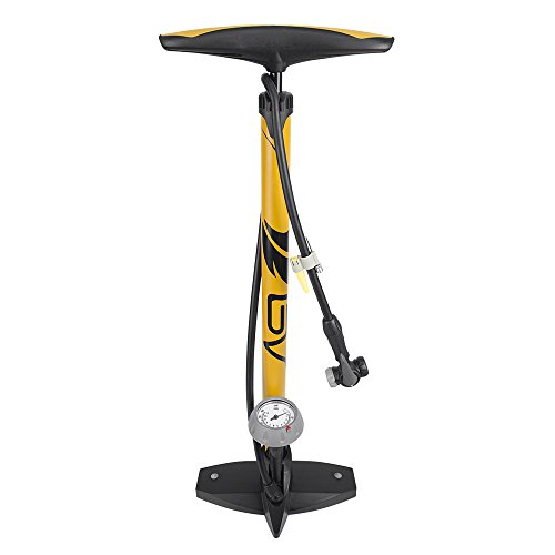 BV Bicycle Ergonomic Bike Floor Pump with Gauge & Smart Valve Head, 160 psi, Automatically Reversible Presta and Schrader (Tire Gauge Bike)