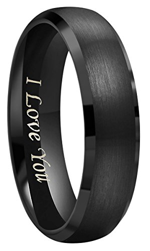 - Crownal 4mm 6mm 8mm Black Tungsten Couple Wedding Bands Rings Men Women Dome Brushed Finish Beveled Edges Engraved