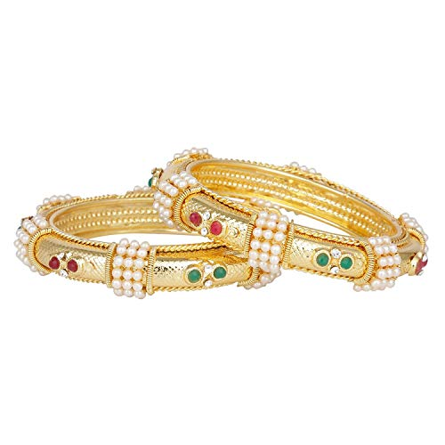 Efulgenz Fashion Jewelry Indian Bollywood 14 K Gold Plated Faux Pearl Ruby Emerald Bracelets Bangle Set (2 Pieces) for Women