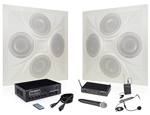 - Pure Resonance Audio SD4 Ceiling Speaker Bundle with MA30BT Bluetooth Mixer Amplifier, Samson Concert 288 All-In-One Dual Channel Wireless System and Accessories - Classroom Sound System (6 Items)