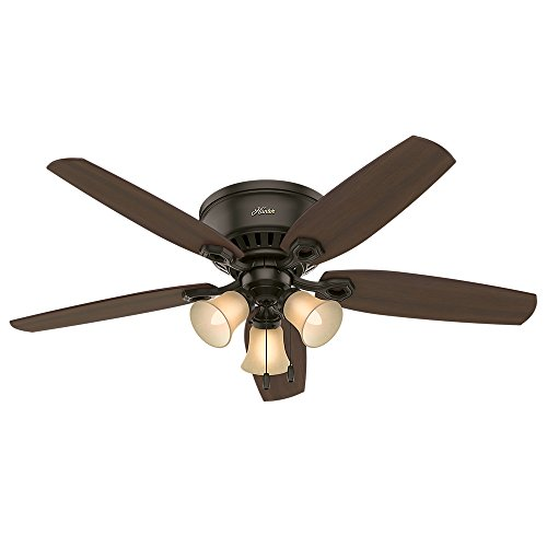 Hunter Indoor Low Profile Ceiling Fan, with pull chain control – Builder 52 inch, New Bronze, 53327