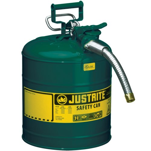 Justrite Type II Accuflow Safety Can, 5 Gallon (Green, For Oils)