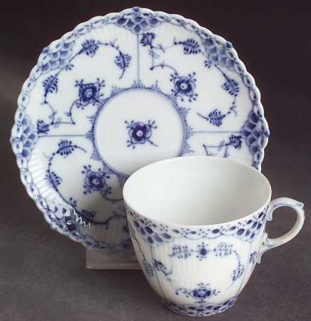 Royal Copenhagen Blue Fluted Full Lace (No Trim) Flat Cup and Saucer Set 1035 DENMARK 2 -