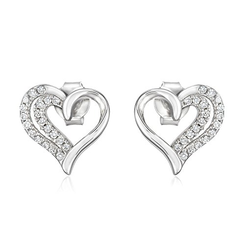 Heart Stud Fashion Earrings, Solid Sterling Silver, Perfect Gift for Girl or Women