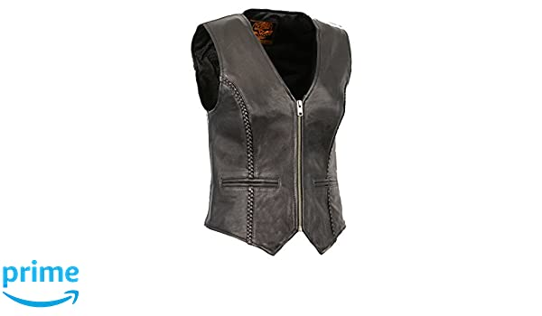 X-Small Milwaukee Leather MLL4550 Ladies Black Braided Lightweight Leather Vest with Zipper Closure