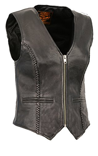 Milwaukee Leather Women's Braided Zipper Front Vest (Black, Large)