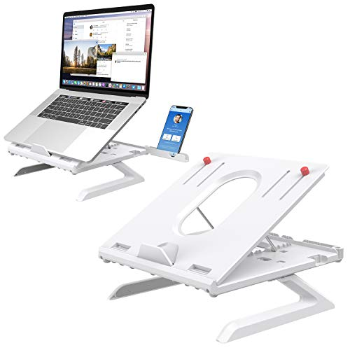 Laptop Stand Built-in Foldable Legs & Phone Holder, Klearlook Multi-Angle Adjustable Laptop Riser with Air-Ventilation Ergonomic Portable Laptop Holder for Desk Compatible with MacBook PC Tablet