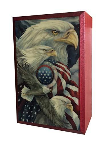 - MilmaArtGift US Flag Wooden Box Bald Eagle Box United States Handmade Keepsake National Symbols of The United States Decorative Wood Box Made in Poland