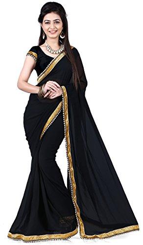 Indian Evening Wear Women Dress Plain Saree Border Bollywood Ethnic Sari