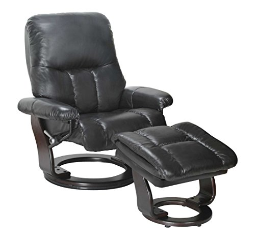 HomeRoots Furniture Recliner Chair & Ottoman- Ebony