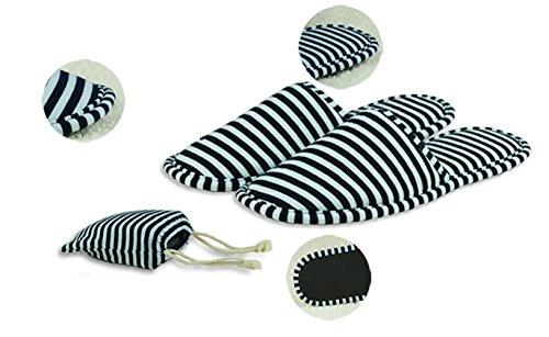 Chaussons de coton à rayures portables portables à l'extérieur avec sac à corder