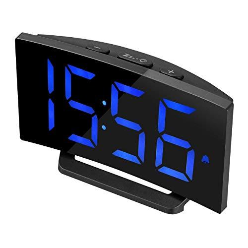 Digital Alarm Clock, TopElek Bedside Alarm Clock with 5'' LED Curved-Screen,3 Adjustable Alarm Sounds, 12/24H Format, Snooze Function, ()