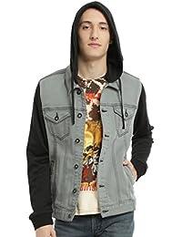 XXX Grey Denim Black Fleece Hooded Jacket