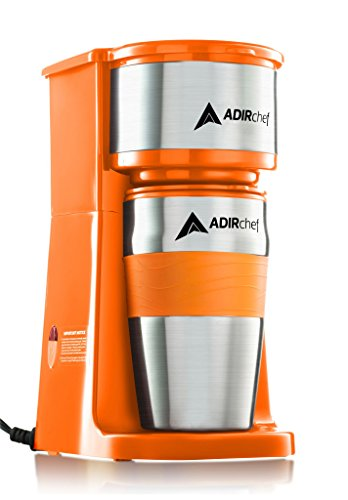 AdirChef Grab N' Go Personal Coffee Maker with 15 oz. Travel Mug (Orange) Dishwasher Safe Coffee Maker