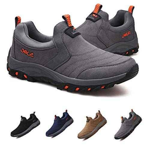 gracosy Slip On Sneaker, Men Outdoor Hiking Casual Sneakers Shock Absorption Non-Slip Shoes Grey