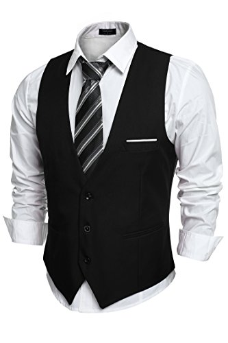 Coofandy Men's V-neck Sleeveless Slim Fit Jacket Casual Suit Vests