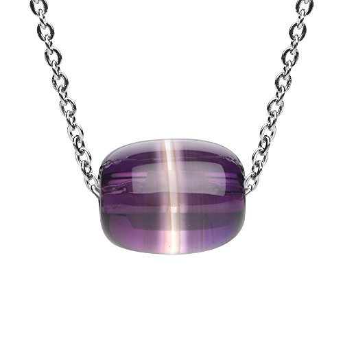 iSTONE Amethyst Barrel Bead Pendant Necklace for Peace and Luck 18 Inch Chain (Amethyst Barrel)