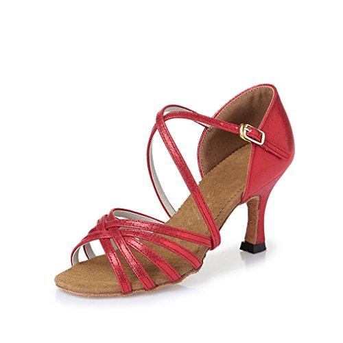 BYLE Sandalias de Cuero Tobillo Modern Jazz Samba Zapatos de Baile Zapatos de Baile Latino América Zapatos de Baile Hembra Adulta Fondo Blando Rojo PU Tacón Alto 7,5 cm 36