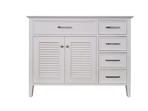 (ARIEL Kensington 42 in. Left Offset Single Rectangle Sink Base Cabinet in White)
