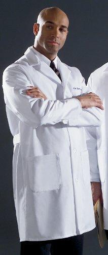 Medline 87052TRQ40 Men's Fine Line Twill Staff Length Lab Coat, 40, White - Mens Staff Lab Coat