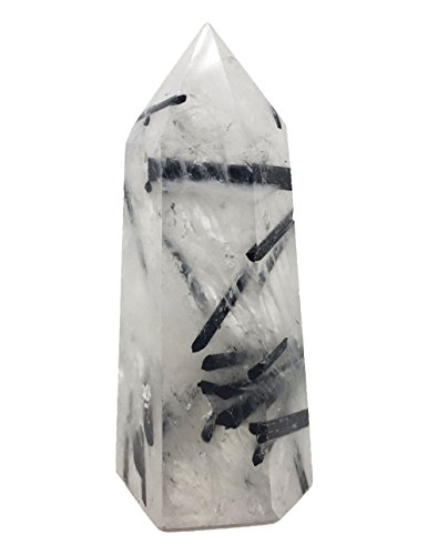 - Yinglai 55-70mm Natural Quartz with Black Tourmaline 6 Facted Crystal Wand Point Healing Reiki Crystal Stone