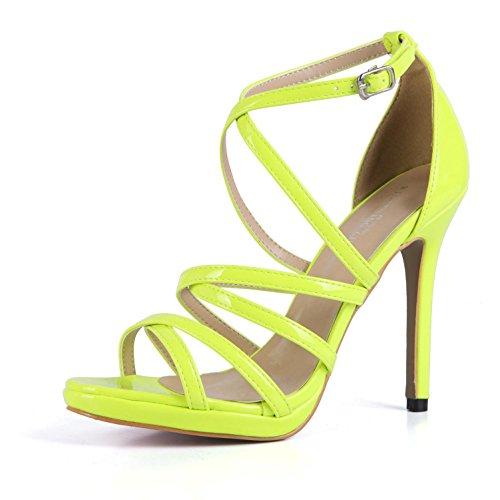 una de sólido cruzadas Premium bombas tacones correas PU de la mujeres altos de verano zapatos de Yellow EU39 muchacha las abierta de punta Sandalias hebilla 4U® 12 CM Best color q1pw0BB