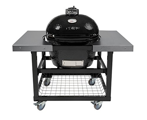 Primo Oval LG 300 Ceramic Smoker Grill On Cart with 2 Piece SS Side Tables by Primo
