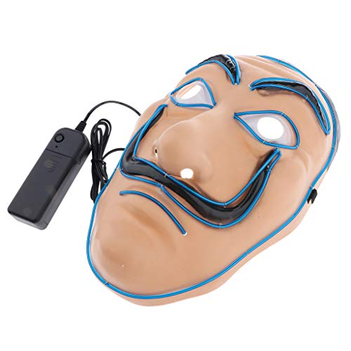 SM SunniMix Scary Halloween Mask Cosplay Costume EL Wire LED Light Up Glowing Facial Mask - Blue, 25 x 17 x 9 cm]()
