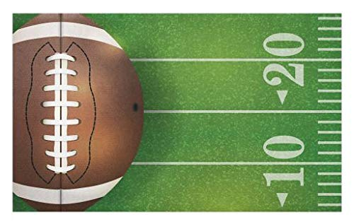Lunarable Boy's Room Doormat, American Football Field and Ball Realistic Vivid Illustration College, Decorative Polyester Floor Mat with Non-Skid Backing, 30 W X 18 L Inches, Green Brown White