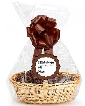 Brown 2Pack Designer Cello Bags / Tags / Bows Cellophane Gift Basket Packaging Bags Flat 18
