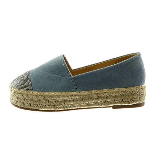 Angkorly Women's Fashion Shoes Espadrilles - Slip-on - Platform - Rhinestone - Cord - Braided Block Heel 3 cm Blue lR7DbJGCh5