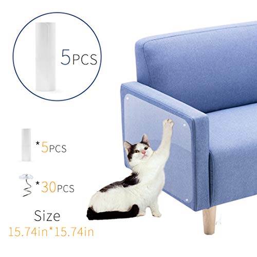 Furniture Protectors from Cats Pet Scratch Guard for Furniture Cat Couch Protector Guards with Pins for Protecting Your Upholstered Furniture Clear Self-Adhesive Furniture Scratch Guards 5 Pcs