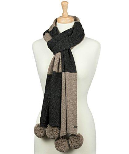 LUNA & TERRA-ASTI Scarf Wrap Hand Loomed Knit 100% BABY ALPACA (Habano/Charcoal) - Hand Loomed Charcoal