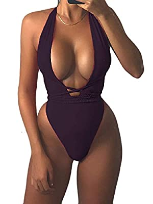 MOPOOGOSS Womens Sexy Deep V Neck High Waist Multi-Way Bandage One Piece Swimsuits Swimwear